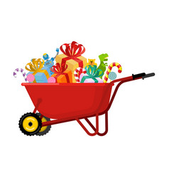 Santa claus wheelbarrow and gifts xmas grounds vector