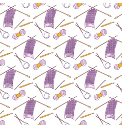 Seamless pattern of knitting and crafts icons on vector image