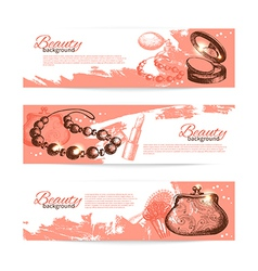 Set of beauty sketch banners vector