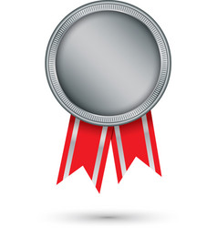 silver medal with red ribbon vector image