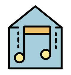 Smart home music icon color outline vector