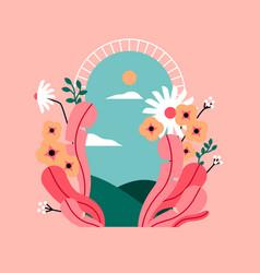 spring flower open door landscape concept vector image