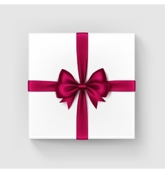 Square Gift Box with Red Satin Bow and Ribbon vector image