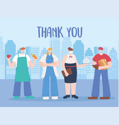 thank you essential workers employess characters vector image