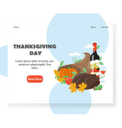 Thanksgiving day website landing page vector