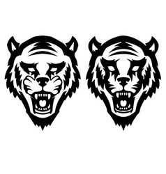 Tiger head on white background design element for vector