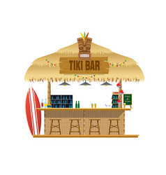 Tiki bar at beach vector