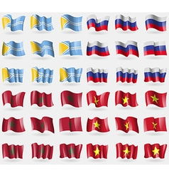 Tuva Russia Morocco Vietnam Set of 36 flags of the vector image