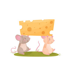 Two mice carry a piece cheese vector