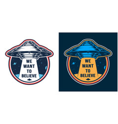 Vintage alien invasion colorful emblem vector