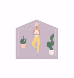 Women doing yoga activity at home vector