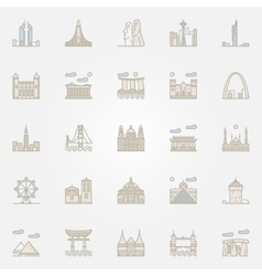 World landmarks colorful icons vector image