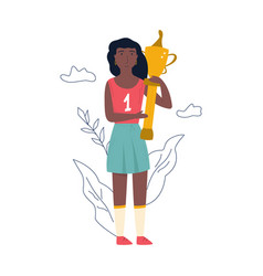 Young athlete girl standing with a golden cup vector