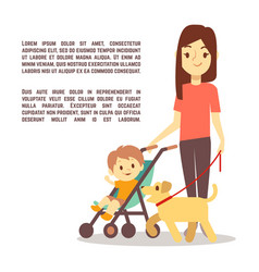 young mother with baby carriage kid and dog vector image