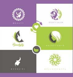 beauty and hair studio women portrait silhouettes vector image vector image