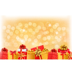 Christmas light background with gift boxes and vector image