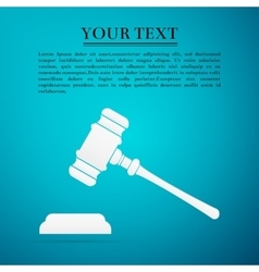 Hammer of judge or auctioneer flat icon on blue vector image vector image