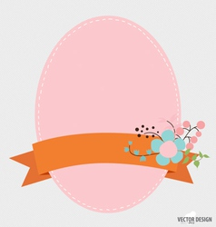 Notepaper with Floral bouquets and ribbon vector image