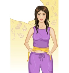 Young woman with measure tape vector image vector image