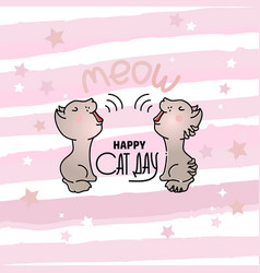 cat day card with two mewing vector image vector image