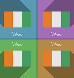 Flags Cote dlvoire Set of colors flat design and vector image vector image