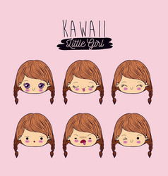 Pink background set facial expression kawaii vector