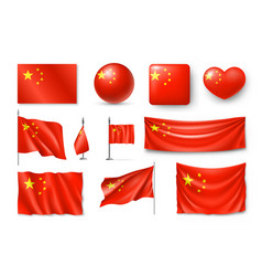 set china flags banners banners symbols flat vector image