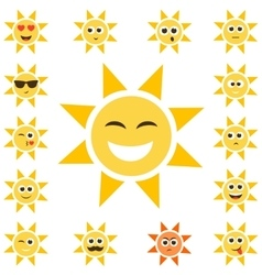 sun set with smiley faces vector image vector image