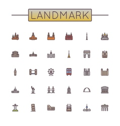 Colored Landmark Line Icons vector image
