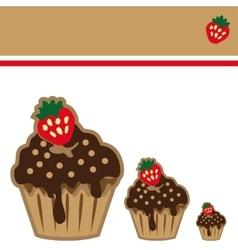 Cream choco cake invitation card vector