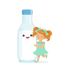cute redhead little girl and funny milk bottle vector image vector image