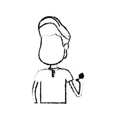 Figure nice boy with hand up and casual wear vector