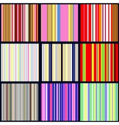 set of vertical striped patterns vector image vector image