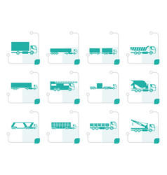 stylized different types of trucks and lorries vector image vector image