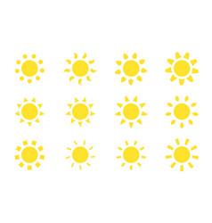 sun icons set vector image