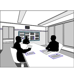 three business people negotiate at the table vector image vector image