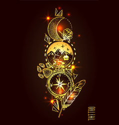 hand drwan sketch tattoo style vector image vector image