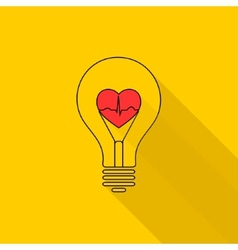 Heart beat in a light bulb vector image