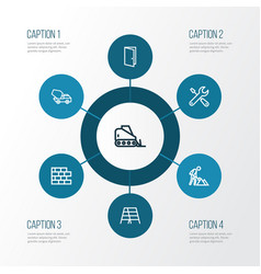 Industry outline icons set collection of vector