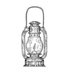kerosene lamp engraving style vector image