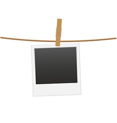 retro photo frame hanging on a rope 01 vector image vector image