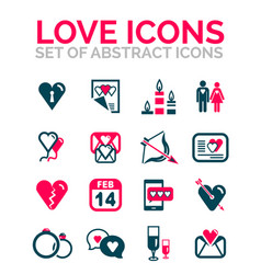 set of valentine day or love icons vector image