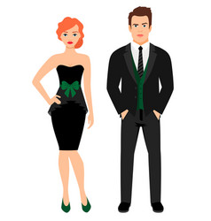 young couple in black fashion outfit vector image vector image