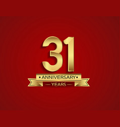 31 years anniversary golden design color vector