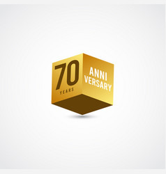 70 years anniversary celebration gold 3 d label vector