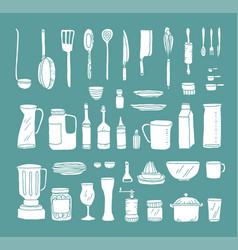 a set of kitchen objects vector image