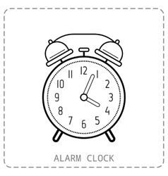 Alarm clock flat linear icon Clock isolated on vector image