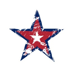 American flag star grunge element vector