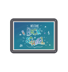 back to school text design with chalk sign and vector image