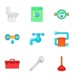 Bathroom icons set cartoon style vector